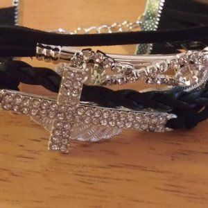 Black Multi Strand Cross Bracelet New